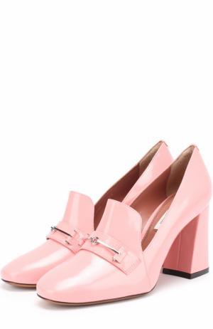 Лаковые туфли с пряжкой на устойчивом каблуке Bally. Цвет: светло-розовый