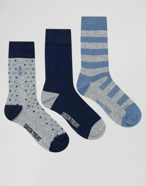 Green Treat Набор из 3 пар носков в полоску. Цвет: серый