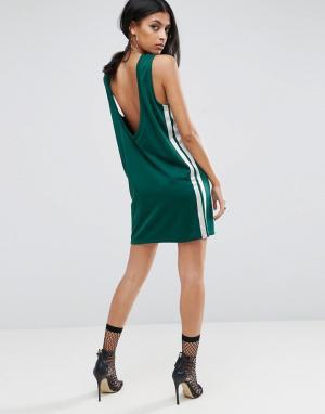 ASOS Платье мини в спортивном стиле с глубоким вырезом на спине. Цвет: зеленый