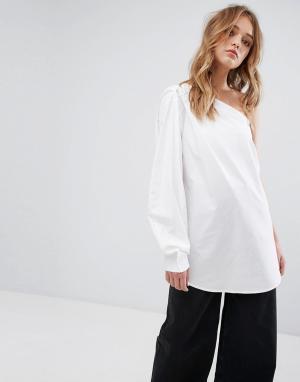 Weekday Рубашка на одно плечо. Цвет: белый