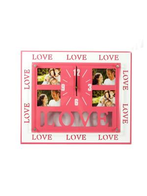Часы-фоторамка на 4 фото 6*9см Русские подарки. Цвет: розовый, белый