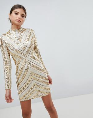 Girl In Mind Платье мини с пайетками и длинными рукавами. Цвет: серебряный