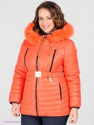 Куртка Alisa Line. Цвет: рыжий, черный