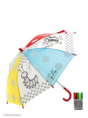 Зонтик для раскрашивания Веселые животные Чудо-творчество. Цвет: красный, желтый, голубой