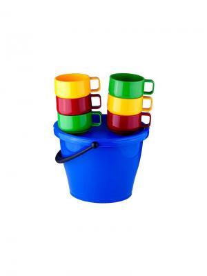 Набор посуды: 6 чашек 0,28л в ведре SOLARIS. Цвет: синий, красный, желтый