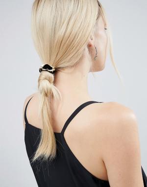 ASOS Бархатная резинка для волос с цепочкой крупными звеньями. Цвет: черный