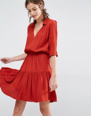 BA&SH Платье с ярусной юбкой Laura. Цвет: красный