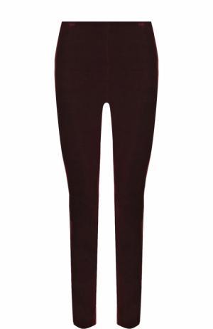 Однотонные бархатные брюки-скинни Theory. Цвет: бордовый