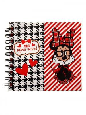 Блокнот на магнитном заклепе Ты ярче всех, Минни Маус, 60 листов Disney. Цвет: черный, белый, красный