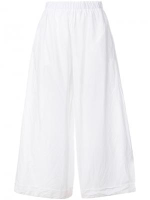 Широкие укороченные брюки Daniela Gregis. Цвет: белый