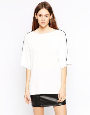 Back By Ann Sofie Рубашка с коротким рукавом и окантовкой. Цвет: видимый белый