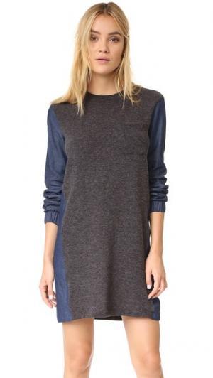 Платье  Too из разных материалов Clu. Цвет: серый