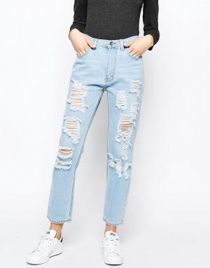 Good Vibes, Bad Daze Узкие рваные джинсы с завышенной талией Vibes