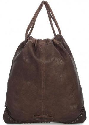Кожаный рюкзак с металлическим декором Taschendieb. Цвет: коричневый