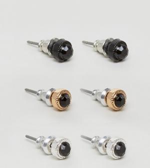 Chained & Able Комплект из серьг с черными камнями. Цвет: черный