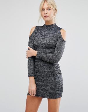 Parisian Облегающее платье с открытыми плечами. Цвет: серый