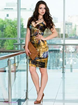 Платье МадаМ Т. Цвет: синий, коричневый, золотистый