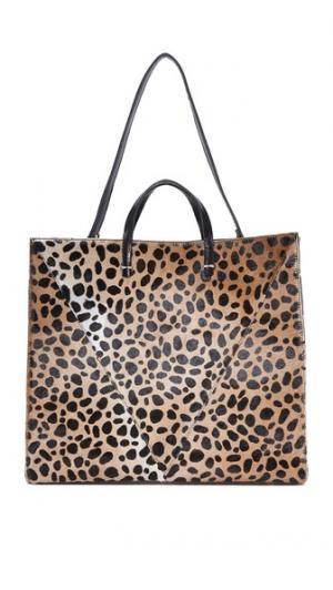 Простая объемная сумка с короткими ручками из кожи коротким ворсом Clare V.