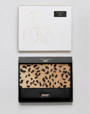 Paul Costelloe Кожаный кошелек с эффектом ворса пони и леопардовым принтом Coste. Цвет: черный