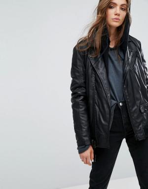Goosecraft Длинная кожаная байкерская куртка. Цвет: черный