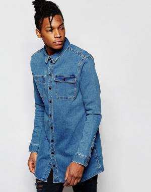 D.I.E Голубая длинная джинсовая рубашка классического кроя . Workman. Цвет: индиго 3