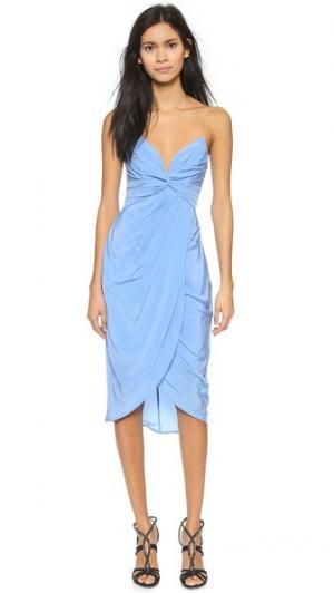Шелковое платье Petal с перекрученной отделкой Zimmermann. Цвет: голубой