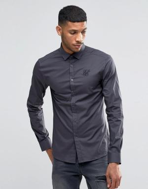 SikSilk Стретчевая рубашка зауженного кроя. Цвет: серый