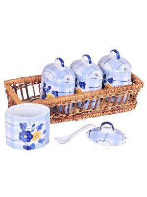 Набор емкостей в плетеной корзине BAYERHOFF. Цвет: белый, голубой