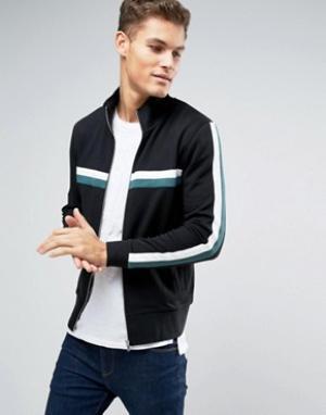 ASOS Черная трикотажная спортивная куртка с контрастными полосками. Цвет: черный