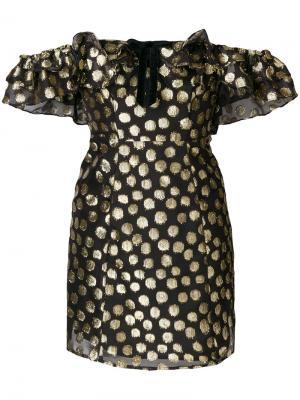 Платье Lottie с открытыми плечами For Love And Lemons. Цвет: чёрный