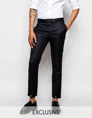 Rogues of London Зауженные брюки в клеточку эксклюзивно от. Цвет: черный