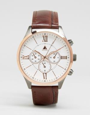 ASOS Часы цвета розового золота с коричневым ремешком. Цвет: коричневый