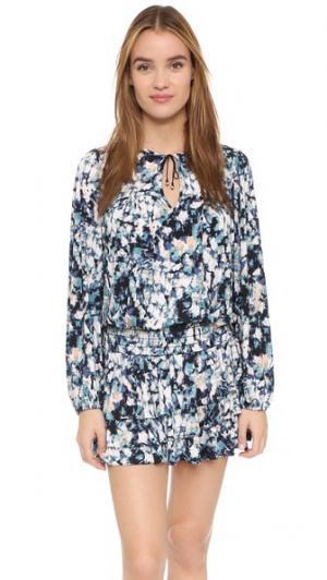 Мини-платье с каплевидными вырезами MISA. Цвет: цветочный мульти