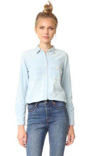 Облегающая рубашка Ex Boyfriend из ткани шамбре Madewell. Цвет: халстед выцветший