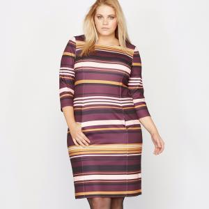 Платье в полоску с рукавами 3/4 CASTALUNA. Цвет: в полоску разноцветный