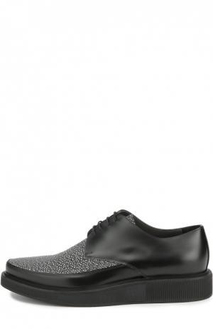 Кожаные туфли с контрастным мысом Lanvin. Цвет: черно-белый