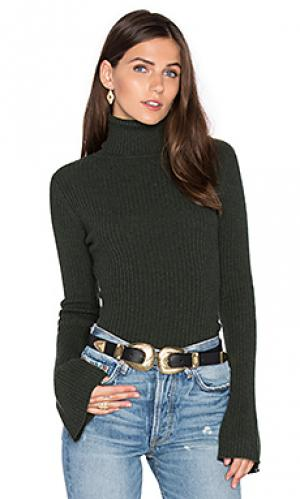 Свитер в рубчик с высоким воротом и рукавами-колокол Autumn Cashmere. Цвет: темно-зеленый