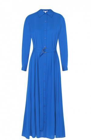 Шелковое платье-рубашка с поясом и карманами Diane Von Furstenberg. Цвет: синий