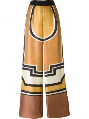 Брюки-палаццо с геометрическим принтом Alberta Ferretti. Цвет: жёлтый и оранжевый