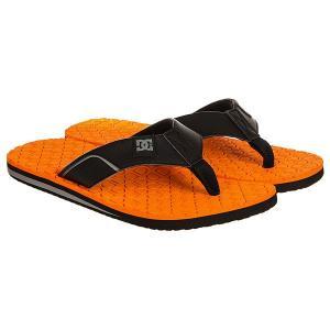 Вьетнамки  Kush Black/Orange DC Shoes. Цвет: черный,оранжевый