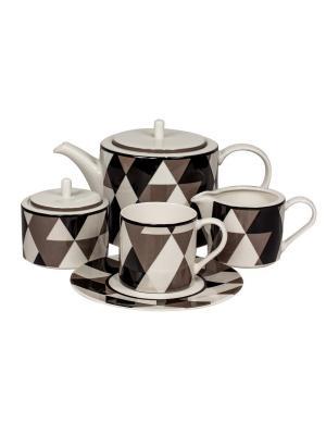 Сервиз чайный 17 предм. на 6 персон Минотти черный Royal Porcelain. Цвет: молочный