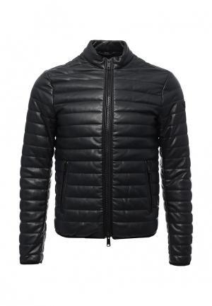 Куртка кожаная Armani Jeans. Цвет: синий