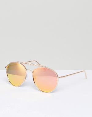 ALDO Солнцезащитные очки-авиаторы в золотистой оправе. Цвет: золотой