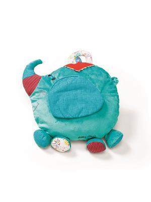 Слоненок Альберт: мягкая игрушка-подушка Lilliputiens. Цвет: голубой, розовый