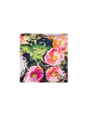 Платок Просто цветы, 90х90 см ArtNiva. Цвет: зеленый, красный