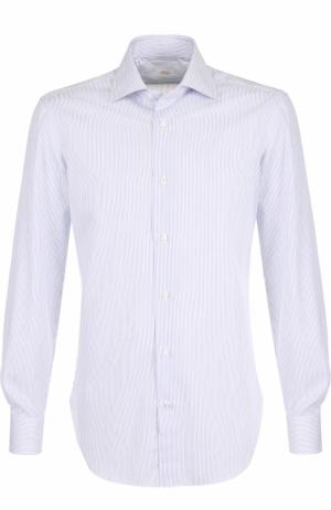 Хлопковая сорочка с воротником кент Barba. Цвет: голубой