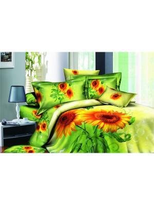 Постельное белье Podsolnuh 2,0 сп.Euro Buenas Noches. Цвет: зеленый, оранжевый, желтый