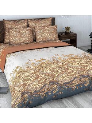 Комплект постельного белья из сатина 2 спальный Василиса. Цвет: коричневый