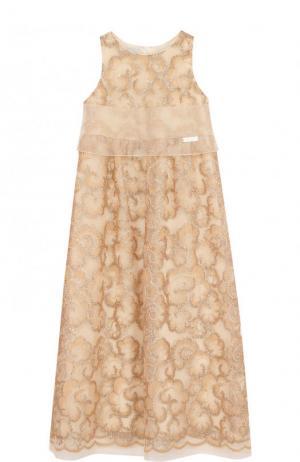 Платье-макси с широким поясом и металлизированной вышивкой I Pinco Pallino. Цвет: золотой
