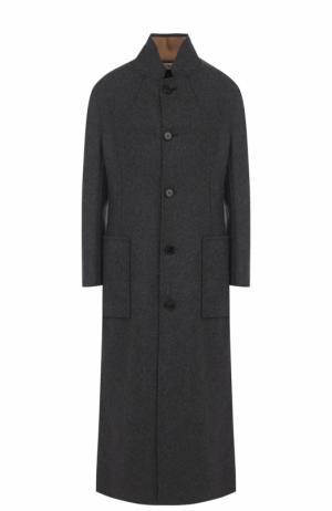 Шерстяное пальто с карманами и воротником-стойкой Marni. Цвет: серый